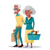 Vetor idoso dos pares Vovô com avó Preto, afro-americano lifestyle Pares de pessoas adultas Isolado ilustração do vetor