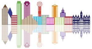 Vetor Illustrat de Dallas City Skyline Color Outline Imagens de Stock Royalty Free