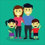 Vetor Ilustration da família no estilo liso Imagens de Stock Royalty Free