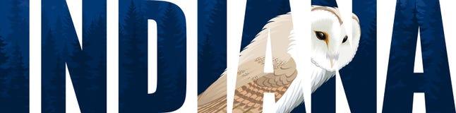 Vetor Indiana - palavra do estado americano com o tyto da coruja de celeiro alba Foto de Stock Royalty Free