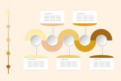 Vetor infographic moderno como ondas onduladas nas sombras do amarelo e Imagens de Stock Royalty Free
