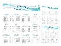 Vetor inglês do calendário 2017-2018-2019 Ilustração Stock