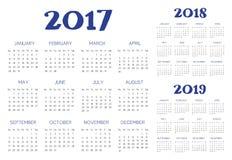 Vetor inglês do calendário Fotos de Stock