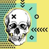 Vetor interessante do crânio Pintado, brilhante e atrativo ilustração royalty free