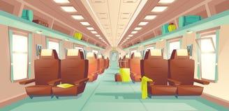 Vetor interior dos desenhos animados do vagão do trem de passageiros ilustração royalty free
