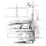 Vetor interior moderno do desenho da mão Imagens de Stock