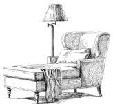 Vetor interior moderno do desenho da mão Imagem de Stock Royalty Free