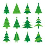 Vetor isolado ícone do Feliz Natal da árvore Fotografia de Stock