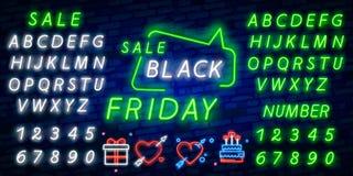 Vetor isolado, bandeira de Black Friday do cartaz no estilo de néon Discontos brilhantes de Black Friday das vendas do sinal Sina imagens de stock royalty free