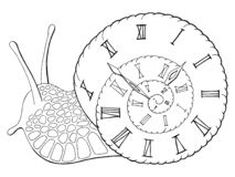 Vetor isolado branco preto gráfico da ilustração do esboço do pulso de disparo do caracol ilustração stock