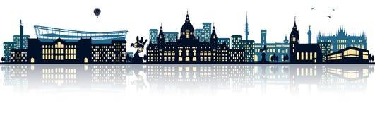 Vetor isolado da skyline de Hannover cidade alemão ilustração royalty free