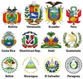 Vetor isolado na brasão branca da central e do sul - países americanos ilustração royalty free