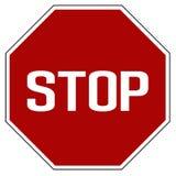 Vetor isolado realístico vermelho do sinal de estrada da parada da etiqueta fotografia de stock royalty free