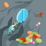 Vetor isométrico liso 3d da medicina inútil dos comprimidos das drogas ilustração royalty free