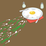 Vetor isométrico liso da omeleta da cebola verde 3d INSEM ilustração royalty free