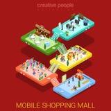 Vetor isométrico liso interior da loja de venda do shopping móvel ilustração do vetor