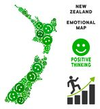 Vetor Joy New Zealand Map Collage dos smiley ilustração stock