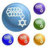 Vetor judaico do grupo dos ícones dos grânulos ilustração do vetor