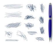 Vetor klottrar Freehand drog beståndsdelar med blåa Pen Isolated royaltyfri illustrationer