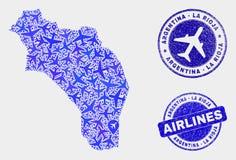 Vetor La Rioja da composição do avião de selos do mapa e do Grunge de Argentina ilustração royalty free