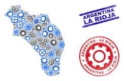 Vetor La Rioja do mosaico da roda denteada de selos do mapa e do Grunge de Argentina ilustração stock
