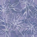 Vetor Lily Seamless Pattern Imagem de Stock Royalty Free