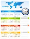 Calendário 2014 incorporado Imagem de Stock