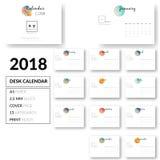 Vetor limpo do projeto 2018 do molde do calendário de mesa Imagens de Stock Royalty Free