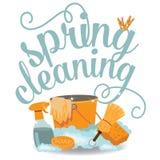 Vetor liso alegre Spring Cleaning do EPS 10 do projeto Fotografia de Stock Royalty Free