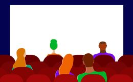 Vetor liso a audi?ncia no cinema Homens e mulheres ilustração royalty free