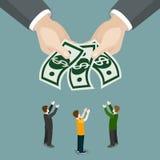 Vetor liso 3d isométrico do negócio do salário do bem-estar da esmola da caridade ilustração stock