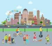 Vetor liso da construção da caminhada das famílias Real Estate co ilustração royalty free