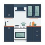 Vetor liso da cozinha ilustração stock