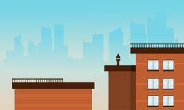 Vetor liso das construções da cidade do estilo dos desenhos animados Fotografia de Stock