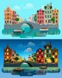 Vetor liso de Europa da cidade: canal do rio, ponte, construções históricas Foto de Stock Royalty Free