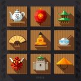 Vetor liso do ícone da lanterna chinesa Imagem de Stock