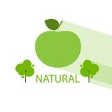 Vetor liso do ícone orgânico natural verde da árvore de maçã Fotografia de Stock