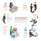 Vetor liso do estilo de vida do trabalhador de escritório do vetor infographic Imagens de Stock