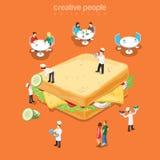 Vetor liso do menu saboroso do fast food do restaurante do sanduíche isométrico Fotografia de Stock Royalty Free