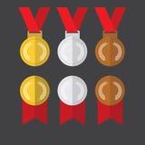 Vetor liso do projeto do medalhista de prata das medalhas de ouro e as de bronze das medalhas Imagem de Stock