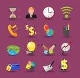 Vetor liso dos desenhos animados da cor do ícone do negócio Fotografia de Stock