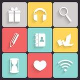 Vetor liso moderno dos ícones Imagens de Stock