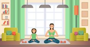 Vetor liso praticando da ioga da mãe e da filha ilustração stock