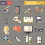 Vetor liso retro dos ícones da ciência e do grupo de símbolos Imagem de Stock