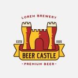 Vetor Logo Template do castelo da cerveja Fotos de Stock Royalty Free