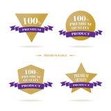 Vetor: Logotipo superior do crachá da qualidade de 100% com ouro e pur escuro Foto de Stock Royalty Free