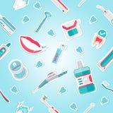 Vetor médico do teste padrão da higiene dos dentes ilustração stock