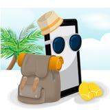 Vetor móvel da trouxa do aventureiro do curso de Smartphone Fotos de Stock