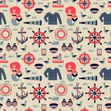 Vetor Marine Seamless Pattern Fotografia de Stock