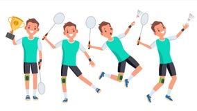 Vetor masculino do jogador do badminton Jogo em poses diferentes Atleta do homem Isolado na ilustração branca do personagem de ba ilustração royalty free